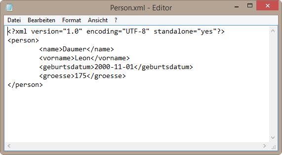 XML Datei im Editor