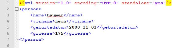 Beispiel: XML Datensatz