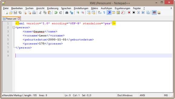 XML Datei in Notepad++