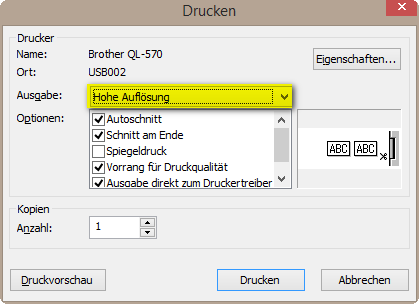 p-Touch Hohe Aufloesung